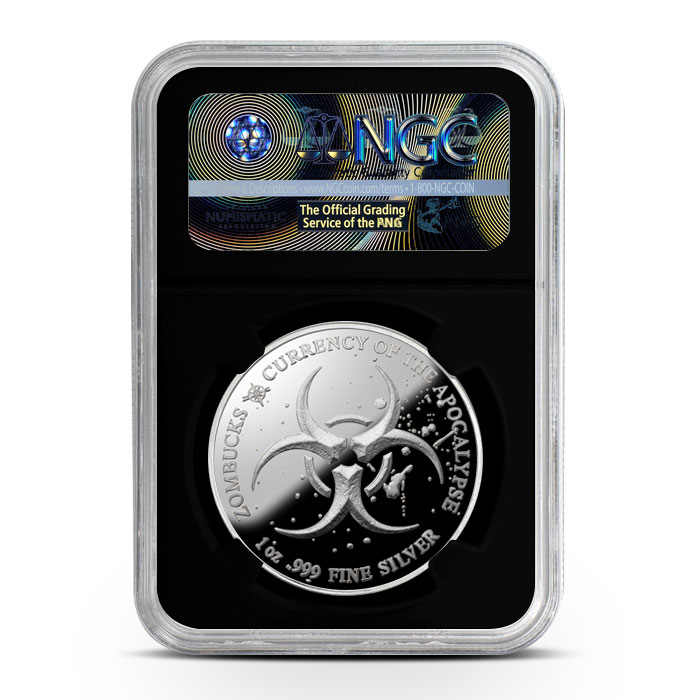 Zombucks The Barber 1 oz Silver Proof NGC PF69 | Black Core Reverse