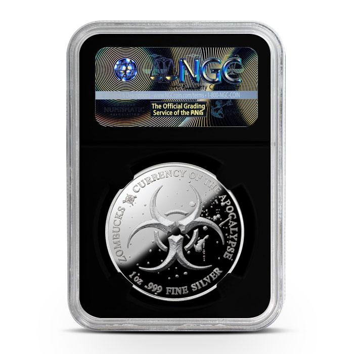 Zombucks Saint 1 oz Silver Proof NGC PF70 | Black Core Reverse
