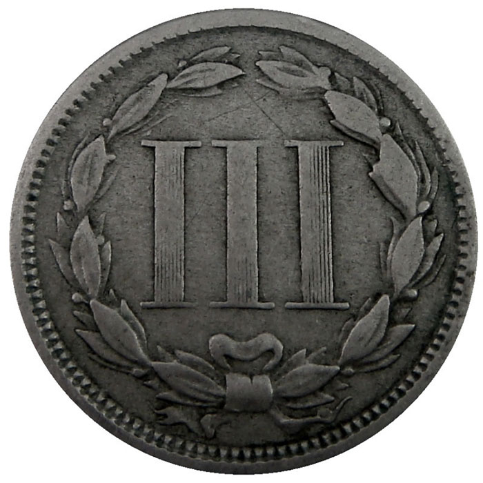 Three Cent Nickel Piece Reverse