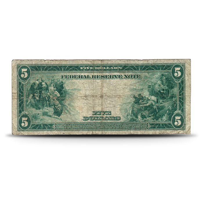 1914 US $5 Federal Reserve Note VG+ Reverse