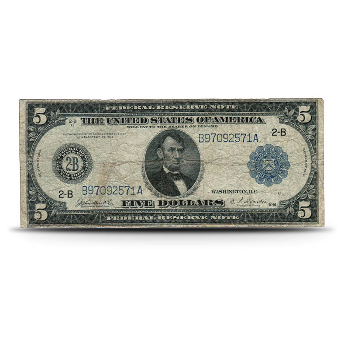 1914 US $5 Federal Reserve Note VG+