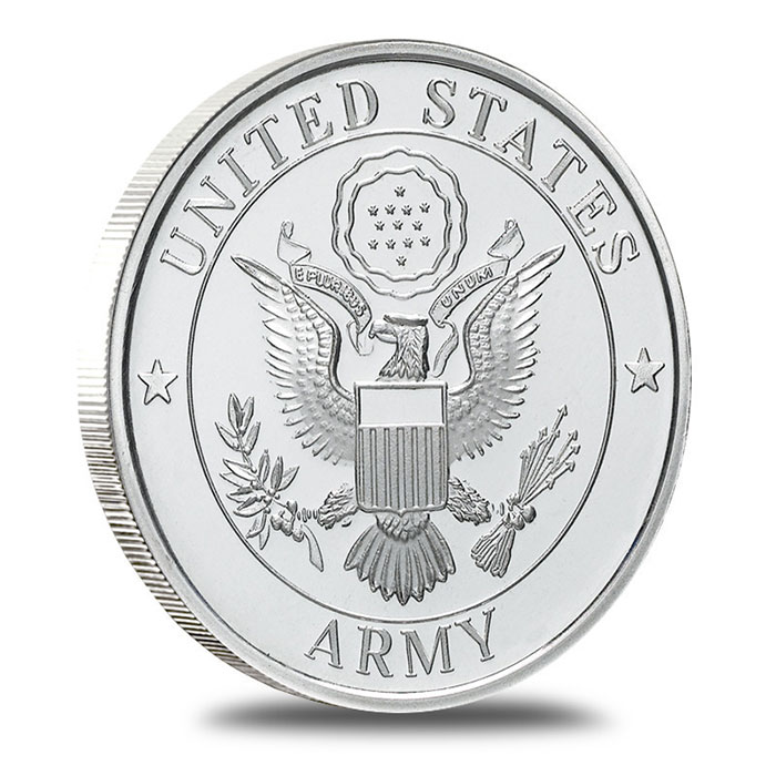 US Army 1 oz .999 Fine Silver Bullion Round Obverse
