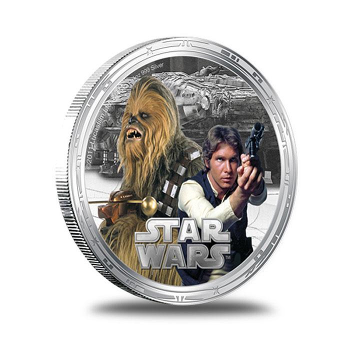 2011 Star Wars Millennium Falcon 1 oz Silver Chubaka Han Solo Round