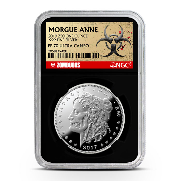 Zombucks Proof Morgue Anne PF70 | Black Core Obverse