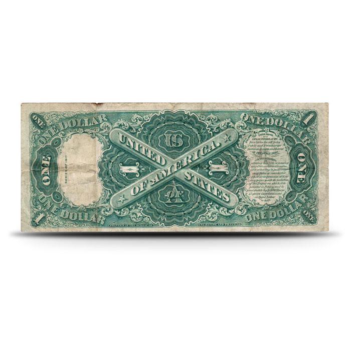 1917 US Legal Tender $1 Note VG+ Reverse