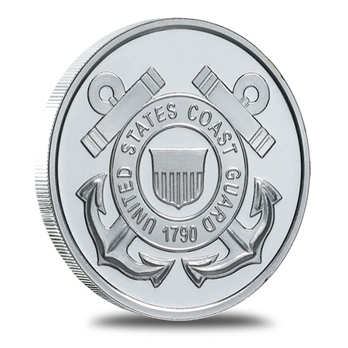 US Coast Guard 1 oz .999 Fine Silver Bullion Round Obverse