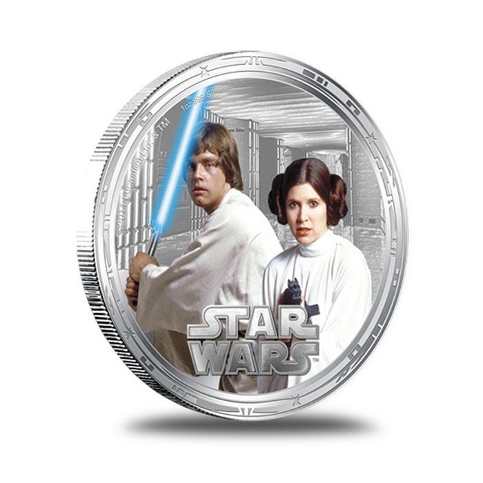 2011 Star Wars Millennium Falcon 1 oz Silver Luke and Lela Skywalker Round