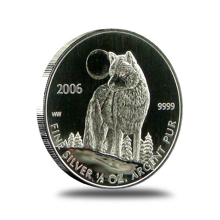 2006 Canada 1/2 Oz. Silver Wolf Coin Reverse