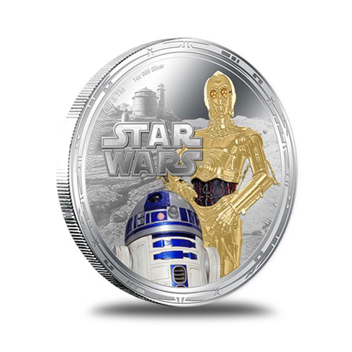 2011 Star Wars Millennium Falcon 1 oz Silver C3PO R2D2 Round