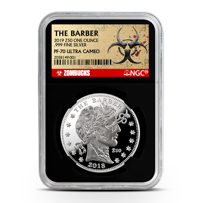 Zombucks The Barber 1 oz Silver Proof NGC PF69 | Black Core