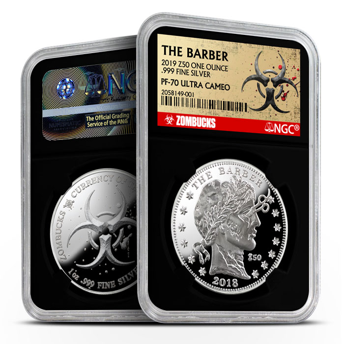 Zombucks The Barber 1 oz Silver Proof NGC PF69 | Black Core Obverse & Reverse