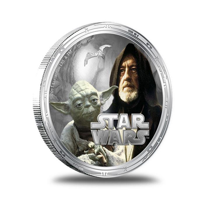 2011 Star Wars Millennium Falcon 1 oz Silver Yoda Obiwan Kanobi Round