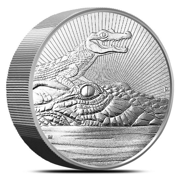 2019 Australia 10 oz Silver Piedfort Crocodile Reverse
