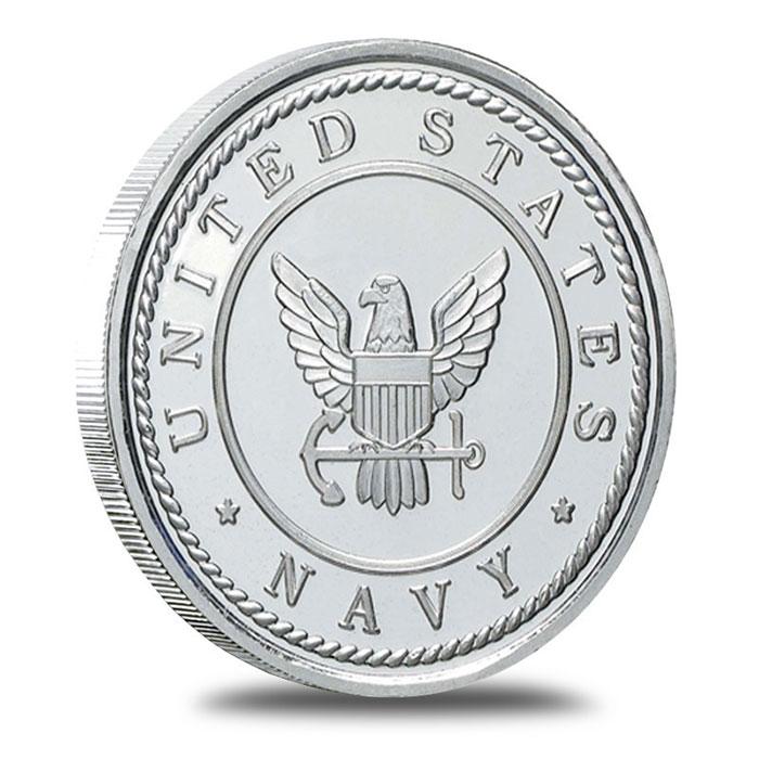 US Navy 1 oz .999 Fine Silver Bullion Round Obverse