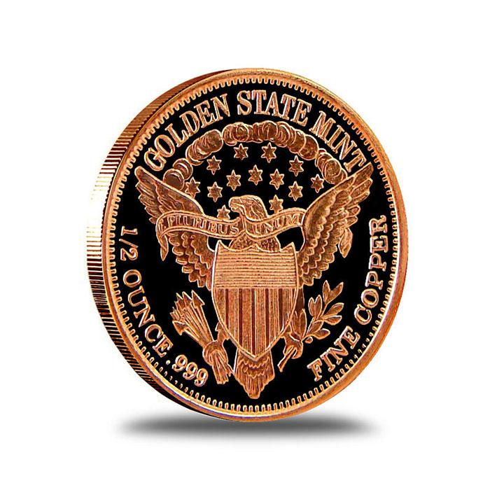 Morgan Dollar 1/2 AVDP oz .999 Fine Copper Bullion Round Reverse