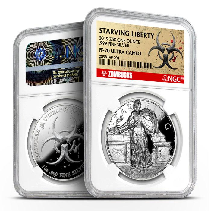 Zombucks Proof Starving Liberty | NGC PF70