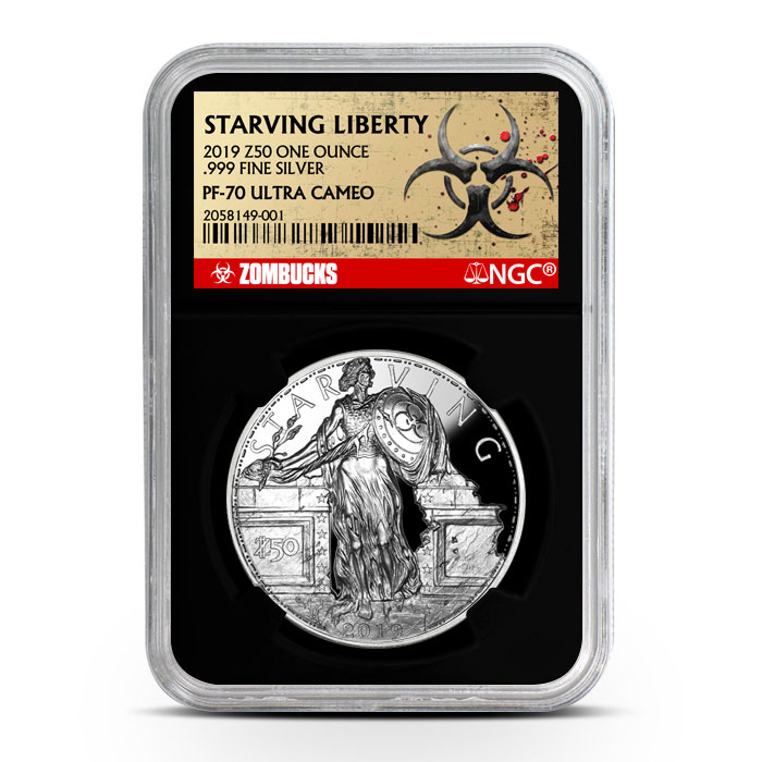 Zombucks Starving Liberty 1 oz Silver Proof NGC PF70 | Black Core