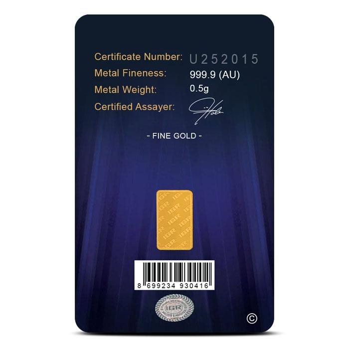 IGR 1/2 gram Gold Bar Reverse