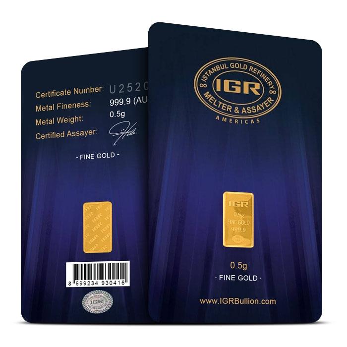 1/2 gram Gold Bar | IGR in Assay Card