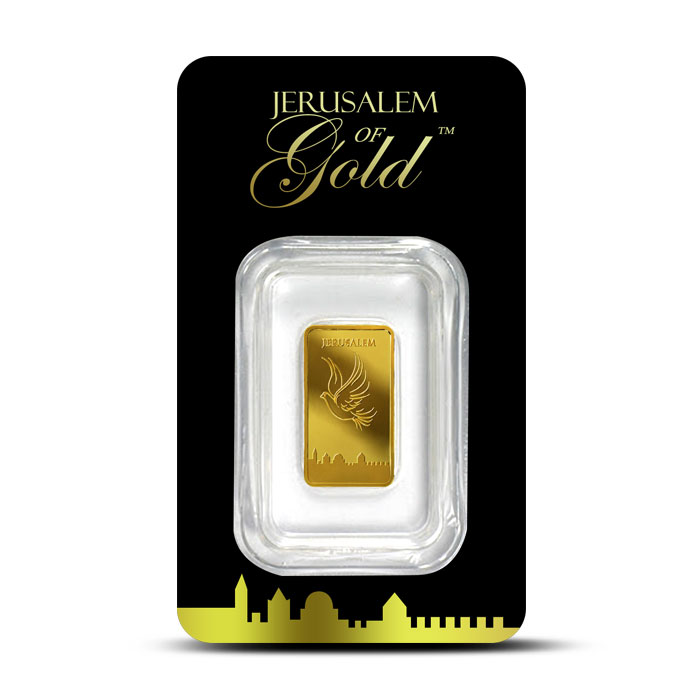 Dove of Peace 1 gram Gold Bar | Holy Land Mint Obverse