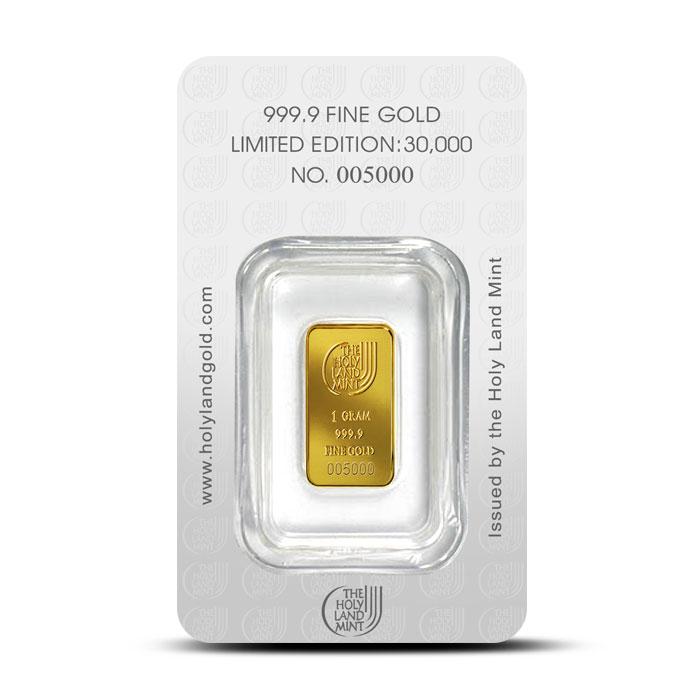 Dove of Peace 1 gram Gold Bar | Holy Land Mint Reverse