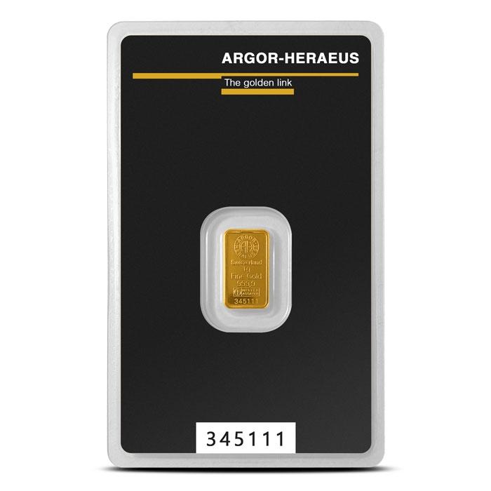 Argor 1 gram Gold Bar in Assay Card