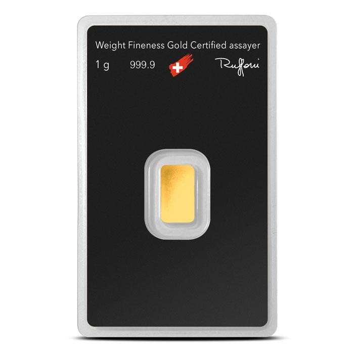 Argor 1 gram Gold Bar Reverse