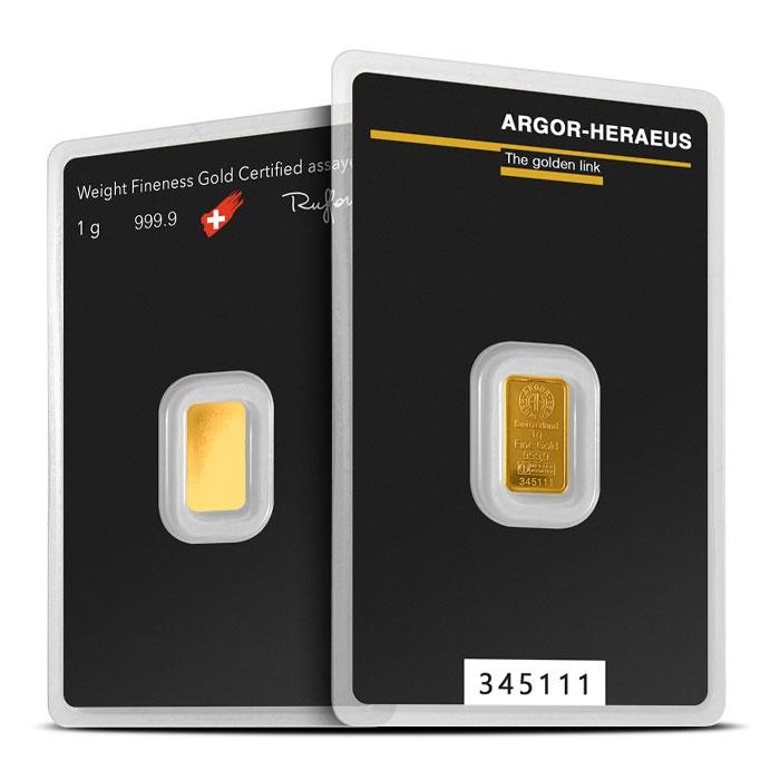 1 gram Gold Bar   Argor-Heraeus
