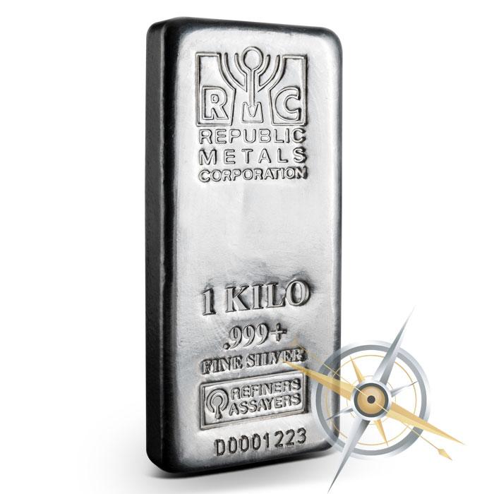 1 kilo Cast Silver Bar | Republic Metals Corporation