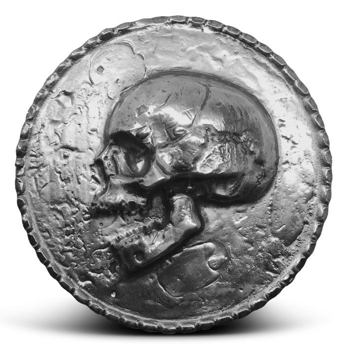 1 kilo Poured Silver Skull
