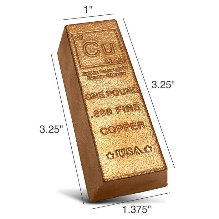 Elemental 1 pound Copper Ingot   Czar Metals