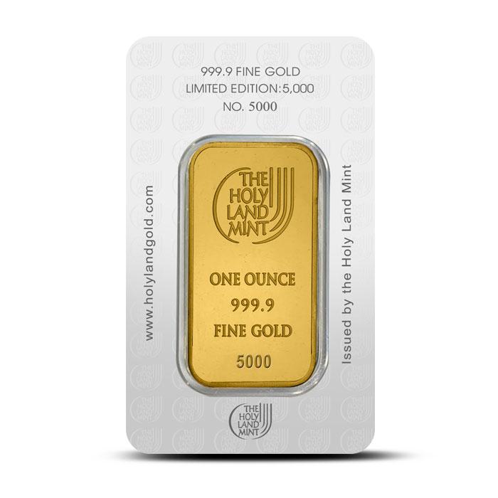Dove of Peace 1 oz Gold Bar | Holy Land Mint Reverse