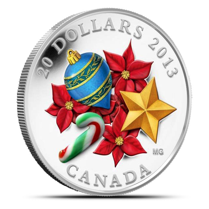 2013 1 oz Canadian Silver $20 Candy Cane Obverse
