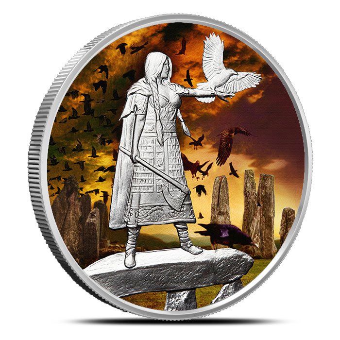 The Morrigan 1 oz Silver Colorized   Celtic Lore Series