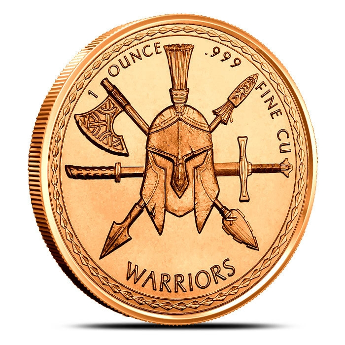 1 oz Copper Aztec Warrior Reverse
