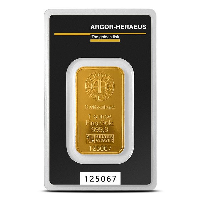 1 oz Gold Bar | Argor-Heraeus in Assay Card