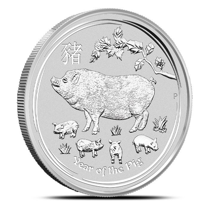 2019 1 oz Silver Lunar Pig Reverse