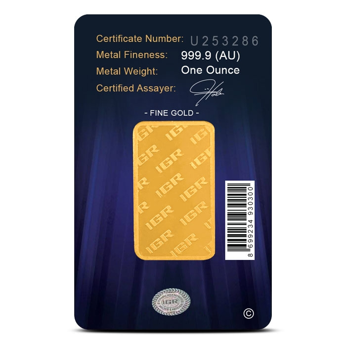 1 oz Gold Bar | Istanbul Gold Refinery in Assay Card