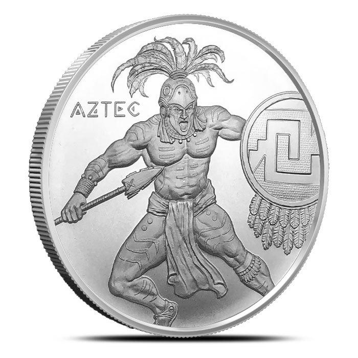 1 oz Silver Aztec Warrior Round Obverse