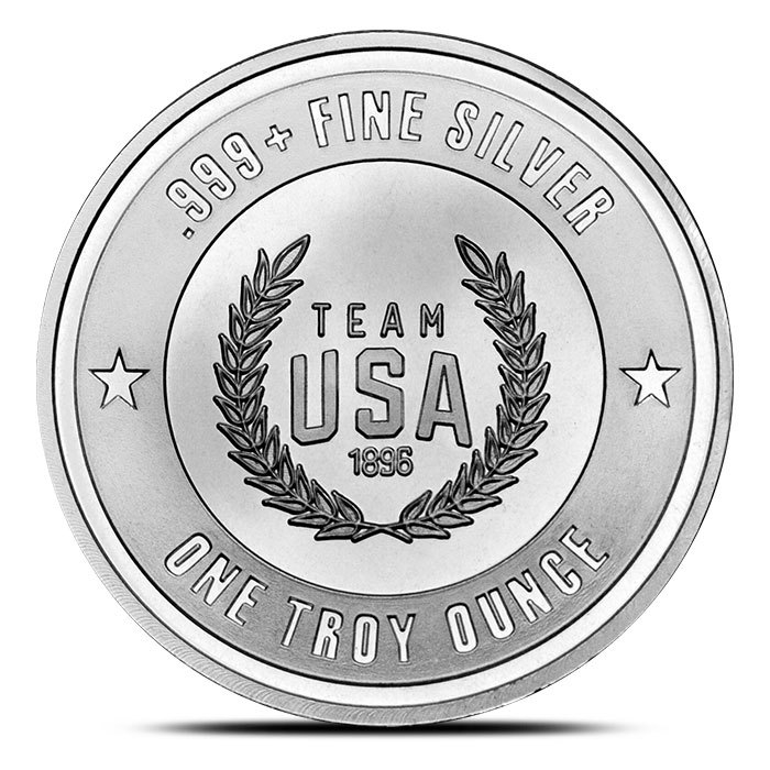 1 oz Silver US Olympic Team Round Back
