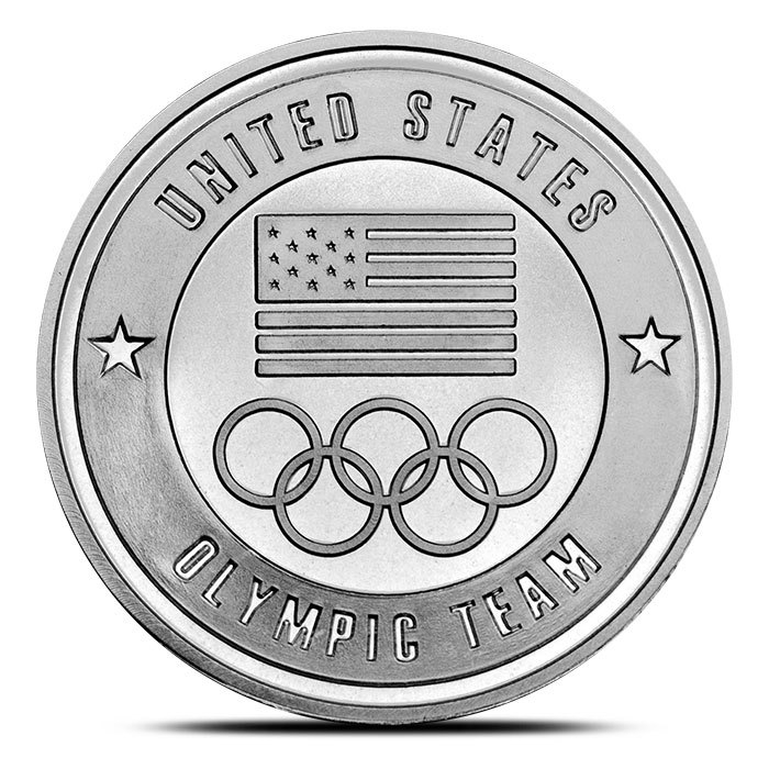 1 oz silver US Olympic Team Round Front