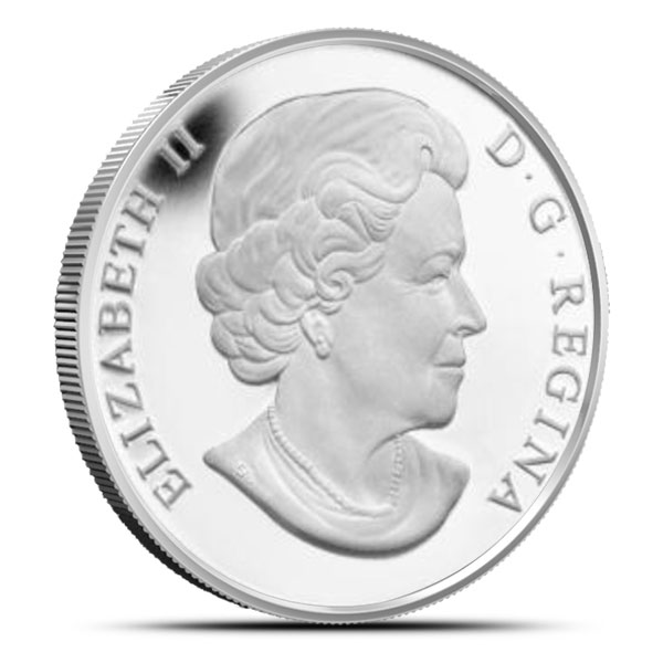 Off Quality | 2014 1 oz Canadian Silver Peregrine Falcon Reverse