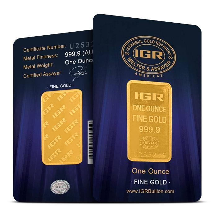 IGR 1 oz Gold Bar in Assay Card