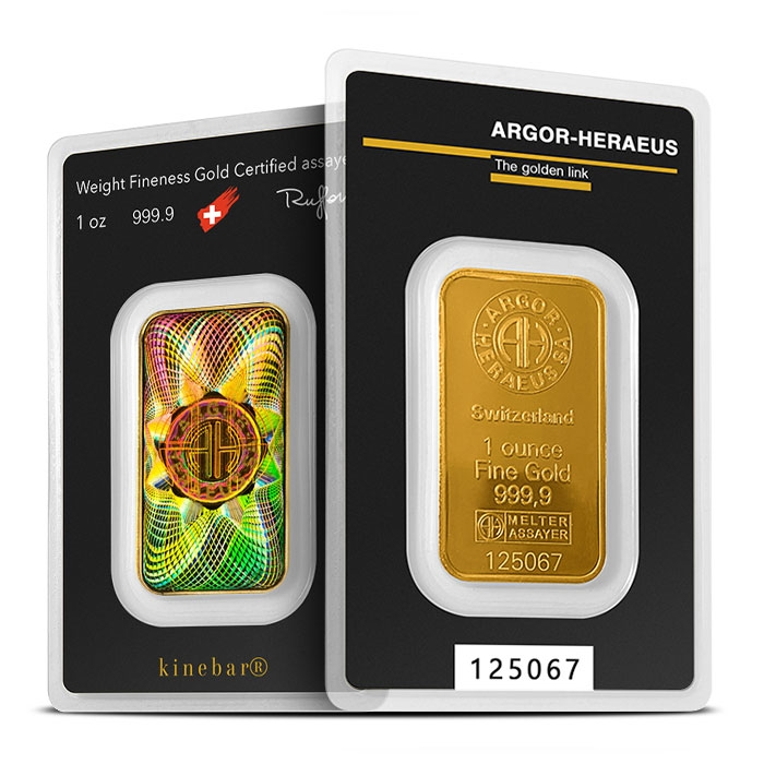 1 oz Gold Kinebar from Argor-Heraeus