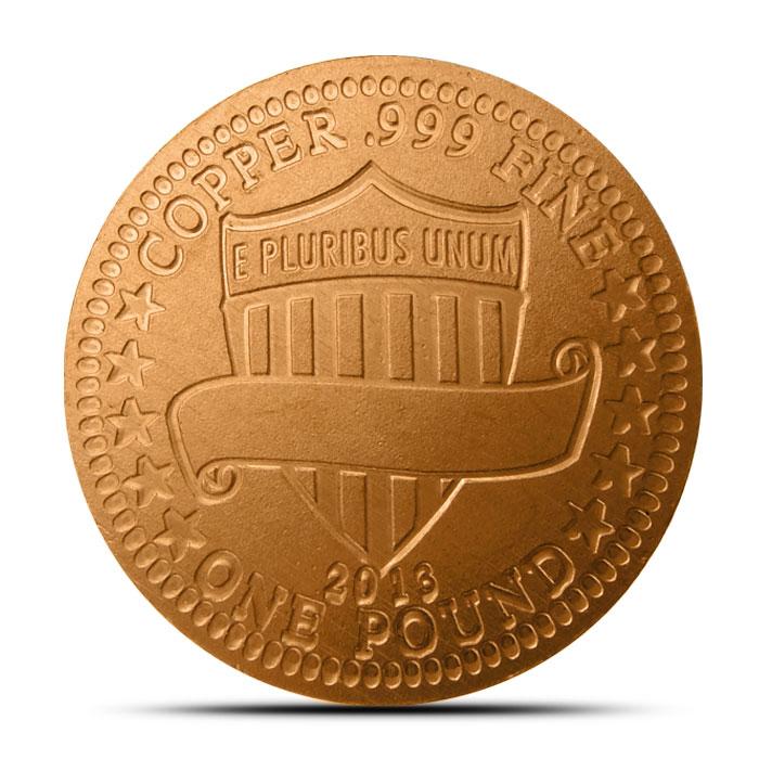 1 lb Copper Round Reverse