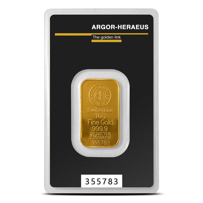 Argor 10 gram Gold Bar in Assay Card
