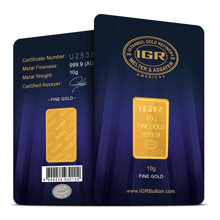 10 gram Gold Bar | IGR in Assay Card