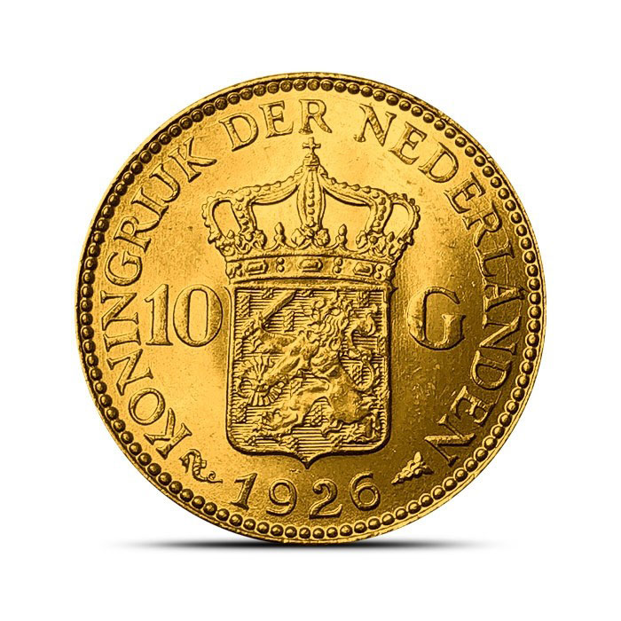 Reverse of Dutch Gold Netherlands 10 Guilder