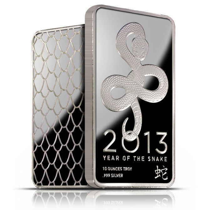 2013 Year of the Snake 10 oz Silver Bars