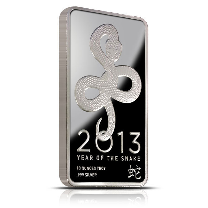 2013 Year of the Snake 10 oz Silver Bar Obverse